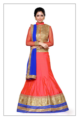 Women's Silk Fabric & Orange Pretty Unstitched Lehenga Choli