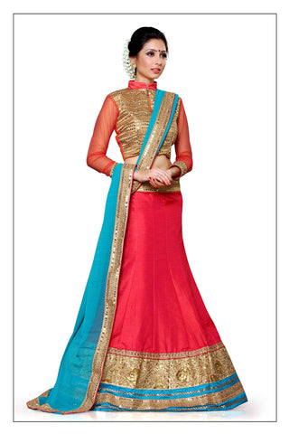Women's Pretty A Line Lehenga Style in Crimson With Lace Work Dupatta