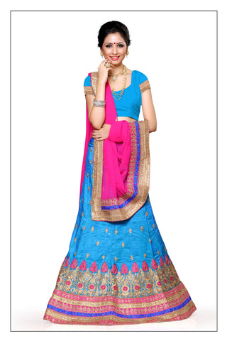 Women's Silk Fabric & Sky Blue Pretty A Line Lehenga Style With Lace Work Dupatta
