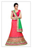 Women's Silk Fabric & Crimson Pretty A Line Lehenga Style With Lace Work Dupatta