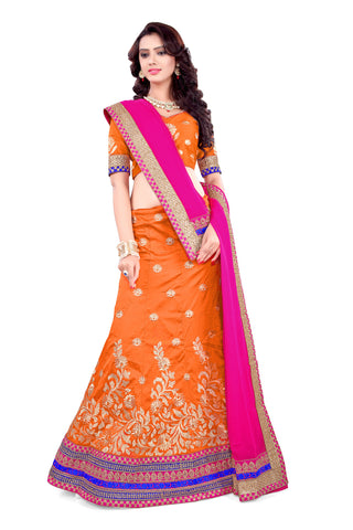 Women's Silk Fabric & Orange Pretty A Line Lehenga Style With Lace Work Dupatta