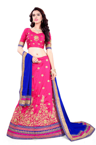 Women's Silk Fabric & Deep Pink Pretty A Line Lehenga Style With Lace Work Dupatta