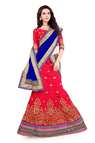 Women's Silk Fabric & Deep Scarlet Pretty A Line Lehenga Style With Lace Work Dupatta