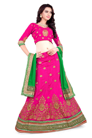 Women's Silk Fabric Deep Pink Pretty Unstitched Lehenga Choli With Lace Work Dupatta