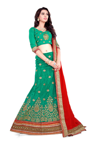 Women's Pretty A Line Lehenga Style in Emerald With Lace Work Dupatta