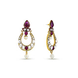 Perfect look White, Maroon & Gold Earrings