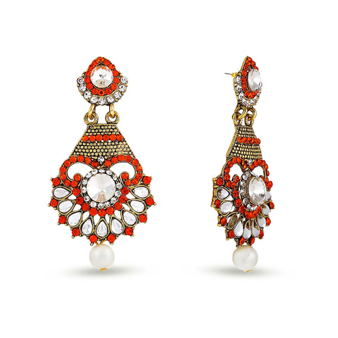 Perfect look Orange, White & Gold Earrings