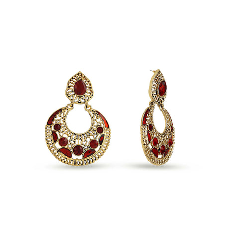 Perfect look Yellow & Maroon Artificial Jewellery Earrings