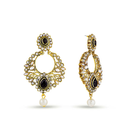 Perfect look Yellow, Black & White Artificial Jewellery Earrings