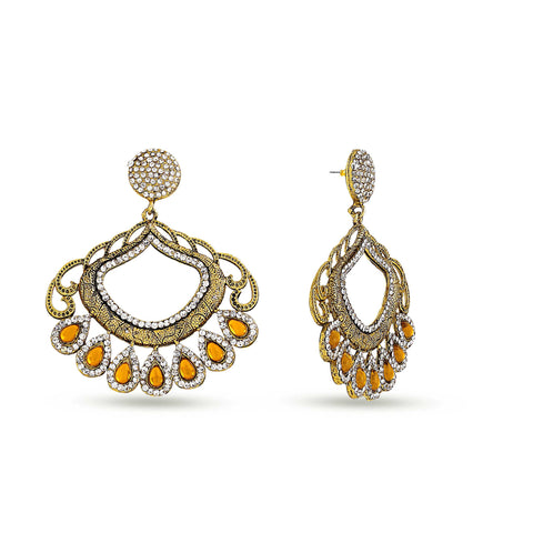 Perfect look Yellow & Silver Artificial Jewellery Earrings