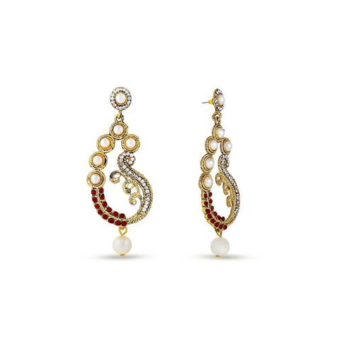 Perfect look Red, Beige & Silver Earrings