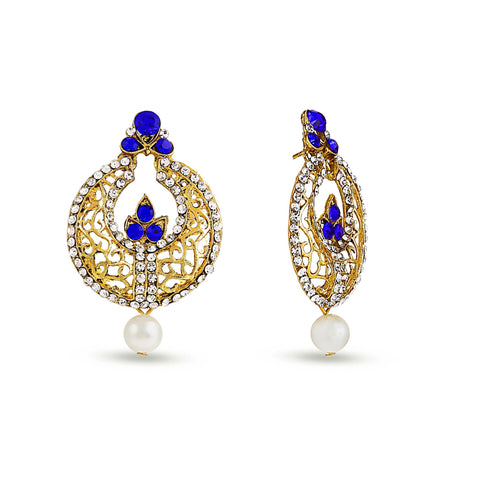 Perfect look Blue, Silver & Gold Earrings