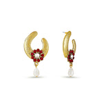 New Look Red & Gold Artificial Jewellery Earrings For Women's