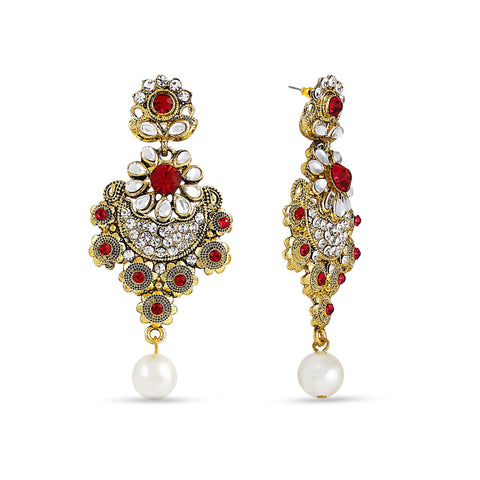 Perfect look Red, Silver & Gold Artificial Jewellery Earrings