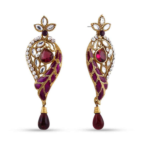 Perfect look Silver, Maroon & Gold Earrings