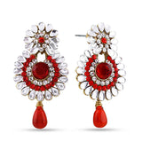 Traditional & Floral Collection In Artificial Jewellery of Earrings In Red & Gold