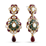 Perfect look Green, Maroon & Gold Earrings