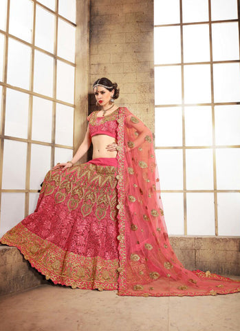 Women's Net Fabric Salmon Pretty Unstitched Lehenga Choli With Resham Work Dupatta