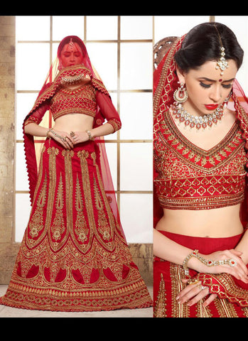 Women's Red & Dupioni Raw Silk Fabric Pretty Unstitched Lehenga Choli