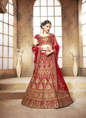 Women's Dupioni Raw Silk Fabric & Red Color Pretty A Line Lehenga Style With Resham Work Dupatta