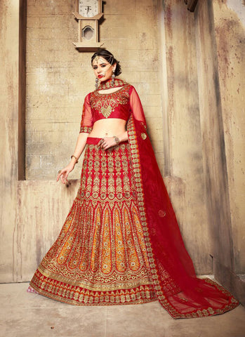 Women's Dupioni Raw Silk Fabric & Red Color Pretty A Line Lehenga Style With Lace Work Dupatta