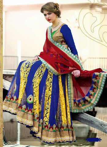 Women's Brasso Fabric & Blue Pretty Circular Lehenga Style