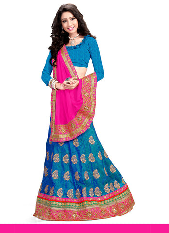 Women's Pretty A Line Lehenga Style in Cyan Blue With Lace Work Dupatta