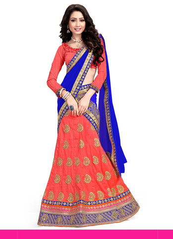 Women's Pretty A Line Lehenga Style in Coral With Lace Work Dupatta