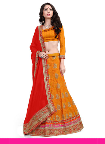 Women's Pretty A Line Lehenga Style in Orange With Mirror Work Dupatta