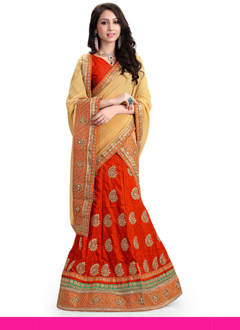 Women's Pretty A Line Lehenga Style in Deep Scarlet With Mirror Work Dupatta