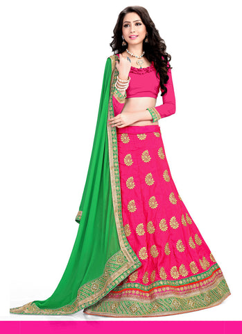 Women's Pretty A Line Lehenga Style in Deep Pink With Mirror Work Dupatta