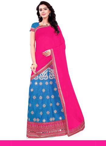 Women's Silk Fabric & Sky Blue Color Pretty A Line Lehenga Style With Lace Work Dupatta