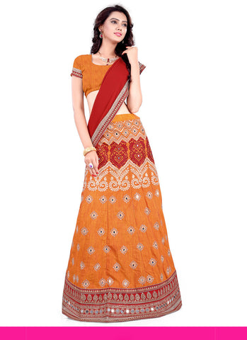 Women's Pretty A Line Lehenga Style in Apricot With Lace Work Dupatta