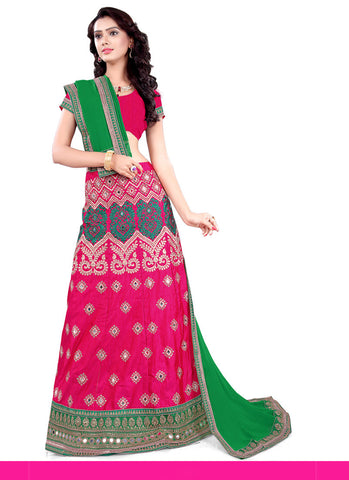 Women's Silk Fabric Deep Pink Color Pretty Unstitched Lehenga Choli With Lace Work Dupatta