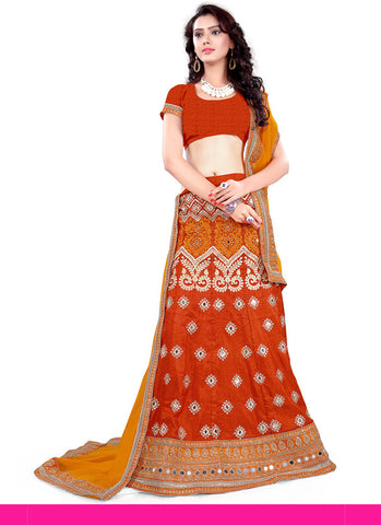 Women's Pretty A Line Lehenga Style in Brick Red With Lace Work Dupatta