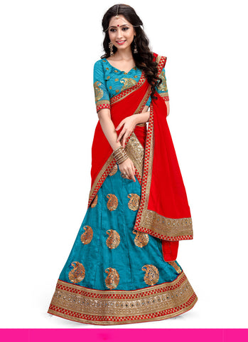 Women's Silk Fabric Sky Blue Pretty Unstitched Lehenga Choli With Lace Work Dupatta