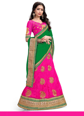 Women's Deep Pink Pretty A Line Lehenga Style With Lace Work Dupatta