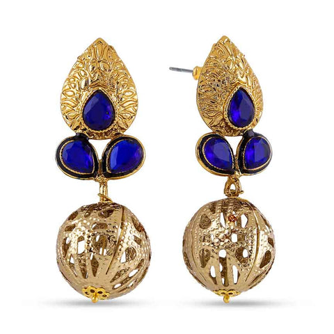 Perfect look Blue & Gold Earrings
