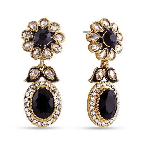 Perfect look Black, Beige & Gold Artificial Jewellery Earrings