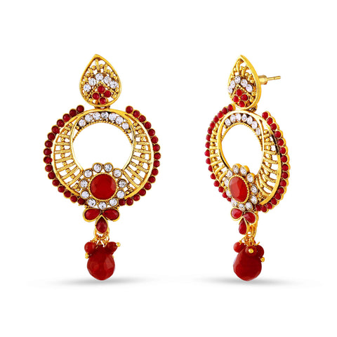 Fantastic & luxurious Collection In Artificial Jewellery of Earrings In Red, Beige & Gold