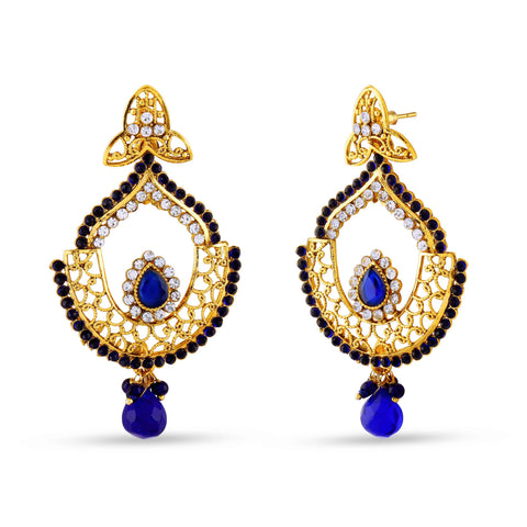 Fantastic & luxurious Collection In Artificial Jewellery of Earrings In Beige, Blue & Gold