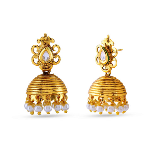 Traditional & luxurious Collection In Artificial Jewellery of Earrings In Beige & Gold