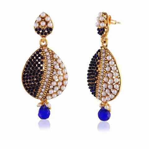 luxurious & Traditional Collection In Artificial Jewellery of Earrings In Beige, Blue & Gold
