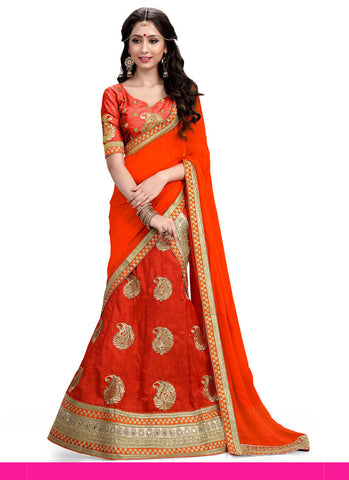 Women's Silk Fabric & Deep Scarlet Color Pretty A Line Lehenga Style With Mirror Work Dupatta