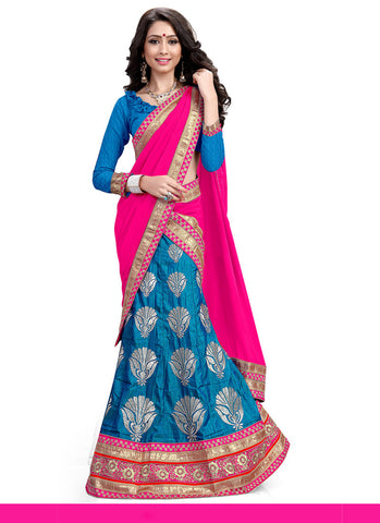 Women's Silk Fabric & Cyan Blue Pretty A Line Lehenga Style With Lace Work Dupatta