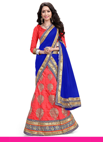 Women's Silk Fabric & Coral Pretty A Line Lehenga Style With Lace Work Dupatta