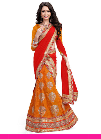 Women's Silk Fabric Orange Pretty Unstitched Lehenga Choli With Lace Work Dupatta