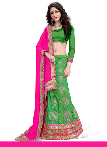 Women's Pretty A Line Lehenga Style in Chrome Green With Lace Work Dupatta