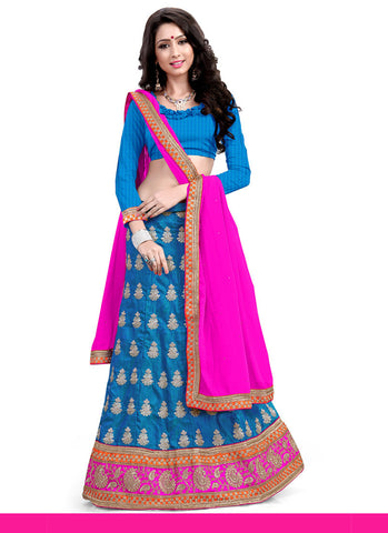 Women's Silk Fabric & Cyan Blue Color Pretty A Line Lehenga Style With Lace Work Dupatta