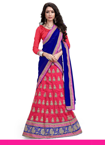 Women's Silk Fabric & Hot Pink Pretty A Line Lehenga Style With Lace Work Dupatta
